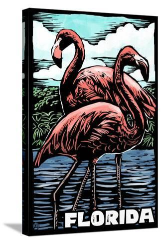 Florida - Flamingo - Scratchboard-Lantern Press-Stretched Canvas Print