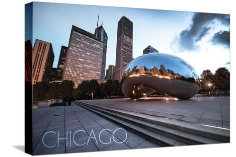 Chicago, Illinois - Skyline and Bean-Lantern Press-Stretched Canvas Print