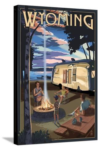 Wyoming - Retro Camper and Lake-Lantern Press-Stretched Canvas Print
