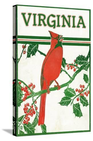 Virginia - Cardinal Perched on a Holly Branch-Lantern Press-Stretched Canvas Print