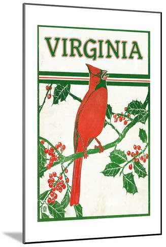 Virginia - Cardinal Perched on a Holly Branch-Lantern Press-Mounted Art Print
