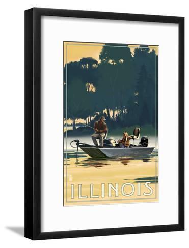Illinois - Fishermen in Boat-Lantern Press-Framed Art Print