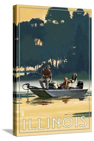 Illinois - Fishermen in Boat-Lantern Press-Stretched Canvas Print