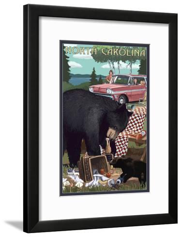 North Carolina - Bear and Picnic Scene-Lantern Press-Framed Art Print
