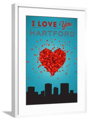 I Love You Hartford, Connecticut-Lantern Press-Framed Art Print