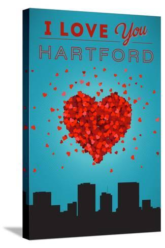 I Love You Hartford, Connecticut-Lantern Press-Stretched Canvas Print