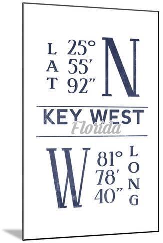 Key West, Florida - Latitude and Longitude (Blue)-Lantern Press-Mounted Art Print