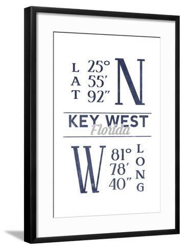 Key West, Florida - Latitude and Longitude (Blue)-Lantern Press-Framed Art Print