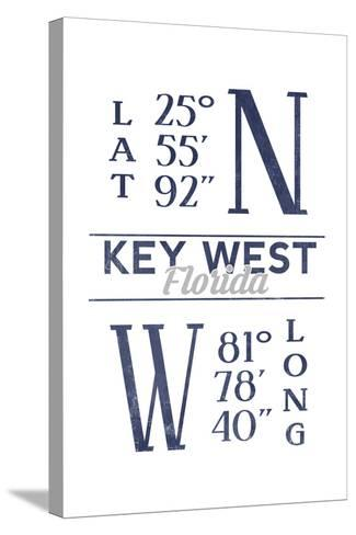 Key West, Florida - Latitude and Longitude (Blue)-Lantern Press-Stretched Canvas Print