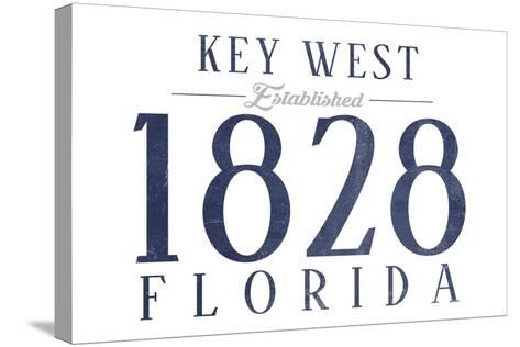 Key West, Florida - Established Date (Blue)-Lantern Press-Stretched Canvas Print