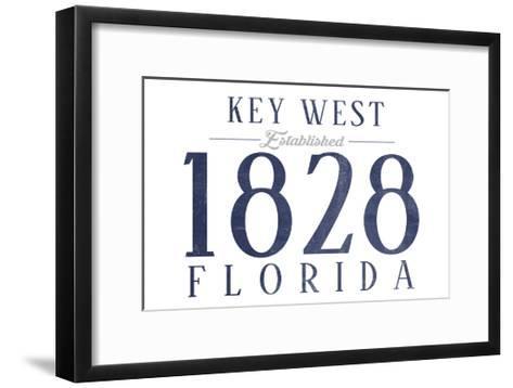 Key West, Florida - Established Date (Blue)-Lantern Press-Framed Art Print
