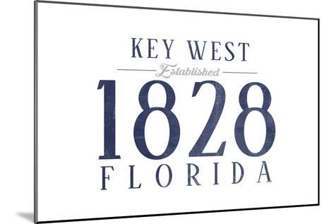 Key West, Florida - Established Date (Blue)-Lantern Press-Mounted Art Print