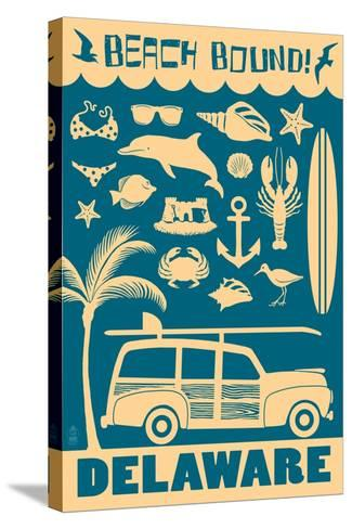 Delaware - Coastal Icons-Lantern Press-Stretched Canvas Print