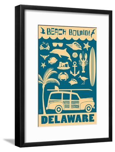 Delaware - Coastal Icons-Lantern Press-Framed Art Print