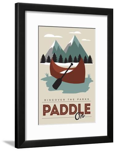 Paddle on (Canoe) - Discover the Parks-Lantern Press-Framed Art Print