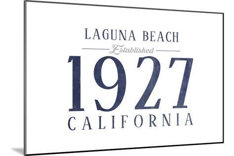 Laguna Beach, California - Established Date (Blue)-Lantern Press-Mounted Art Print