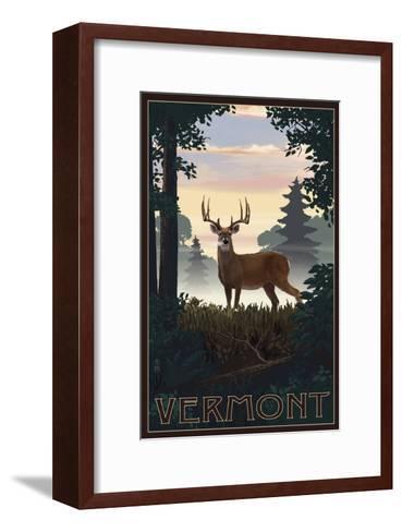 Vermont - Deer and Sunrise-Lantern Press-Framed Art Print