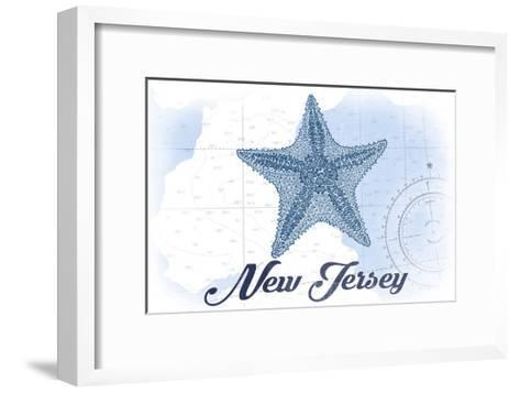 New Jersey - Starfish - Blue - Coastal Icon-Lantern Press-Framed Art Print