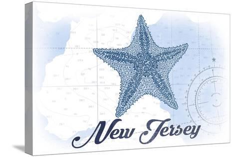 New Jersey - Starfish - Blue - Coastal Icon-Lantern Press-Stretched Canvas Print
