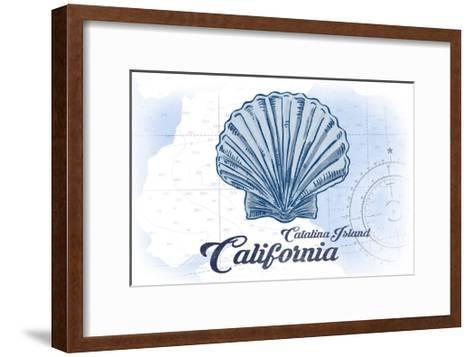 Catalina Island, California - Scallop Shell - Blue - Coastal Icon-Lantern Press-Framed Art Print