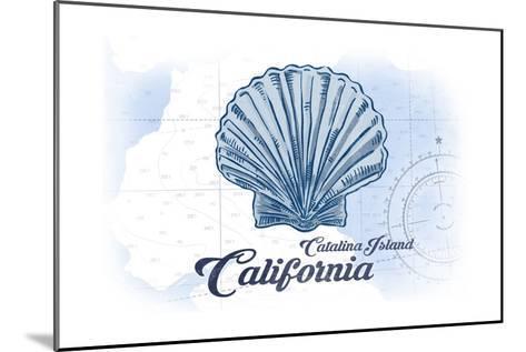Catalina Island, California - Scallop Shell - Blue - Coastal Icon-Lantern Press-Mounted Art Print