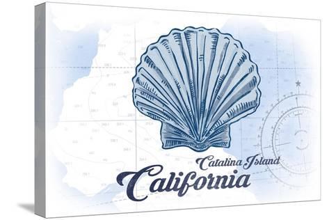 Catalina Island, California - Scallop Shell - Blue - Coastal Icon-Lantern Press-Stretched Canvas Print