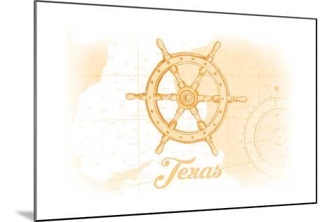 Texas - Ship Wheel - Yellow - Coastal Icon-Lantern Press-Mounted Art Print