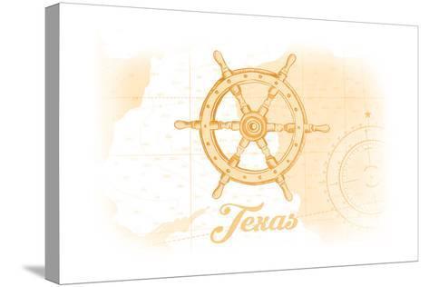 Texas - Ship Wheel - Yellow - Coastal Icon-Lantern Press-Stretched Canvas Print
