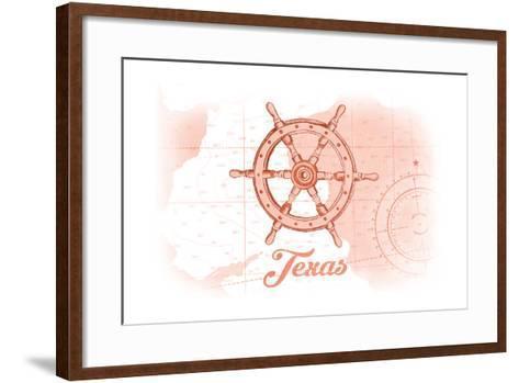 Texas - Ship Wheel - Coral - Coastal Icon-Lantern Press-Framed Art Print