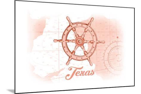 Texas - Ship Wheel - Coral - Coastal Icon-Lantern Press-Mounted Art Print