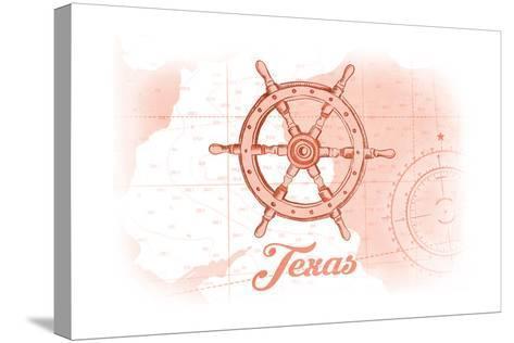 Texas - Ship Wheel - Coral - Coastal Icon-Lantern Press-Stretched Canvas Print