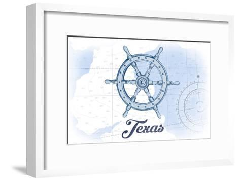 Texas - Ship Wheel - Blue - Coastal Icon-Lantern Press-Framed Art Print