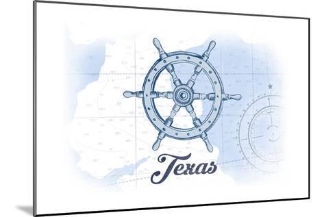 Texas - Ship Wheel - Blue - Coastal Icon-Lantern Press-Mounted Art Print