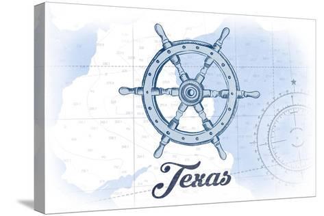 Texas - Ship Wheel - Blue - Coastal Icon-Lantern Press-Stretched Canvas Print