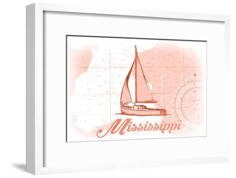Mississippi - Sailboat - Coral - Coastal Icon-Lantern Press-Framed Art Print