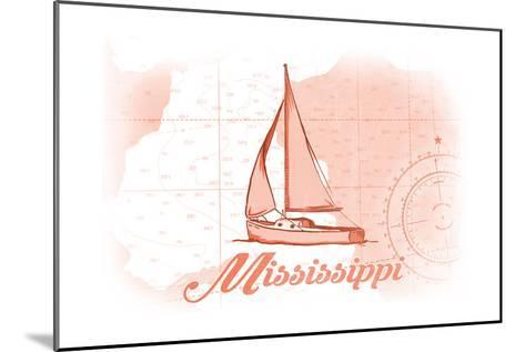 Mississippi - Sailboat - Coral - Coastal Icon-Lantern Press-Mounted Art Print