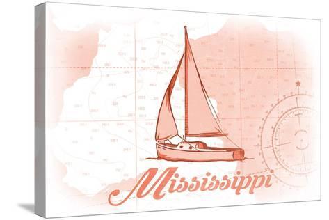 Mississippi - Sailboat - Coral - Coastal Icon-Lantern Press-Stretched Canvas Print