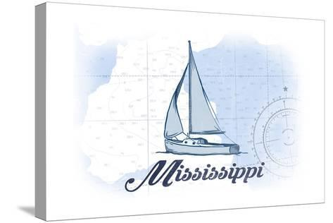 Mississippi - Sailboat - Blue - Coastal Icon-Lantern Press-Stretched Canvas Print