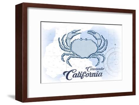 Coronado, California - Crab - Blue - Coastal Icon-Lantern Press-Framed Art Print