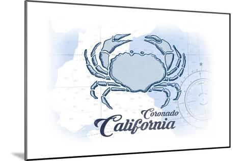 Coronado, California - Crab - Blue - Coastal Icon-Lantern Press-Mounted Art Print