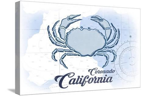 Coronado, California - Crab - Blue - Coastal Icon-Lantern Press-Stretched Canvas Print