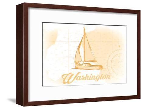 Washington - Sailboat - Yellow - Coastal Icon-Lantern Press-Framed Art Print