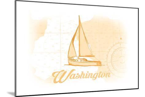 Washington - Sailboat - Yellow - Coastal Icon-Lantern Press-Mounted Art Print