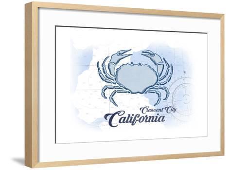 Crescent City, California - Crab - Blue - Coastal Icon-Lantern Press-Framed Art Print