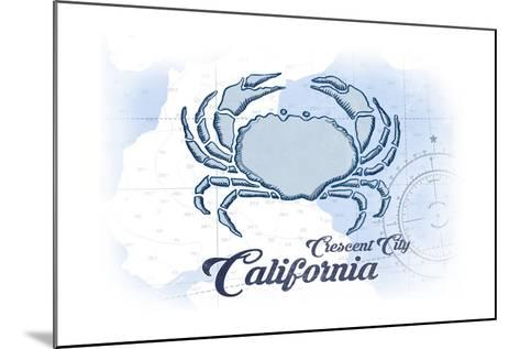 Crescent City, California - Crab - Blue - Coastal Icon-Lantern Press-Mounted Art Print