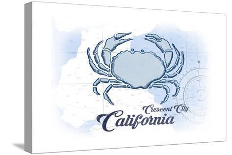 Crescent City, California - Crab - Blue - Coastal Icon-Lantern Press-Stretched Canvas Print