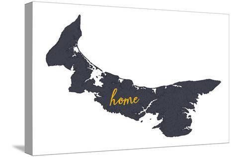 Prince Edward Island - Home - Gray on White-Lantern Press-Stretched Canvas Print