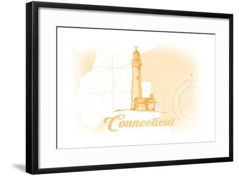 Connecticut - Lighthouse - Yellow - Coastal Icon-Lantern Press-Framed Art Print
