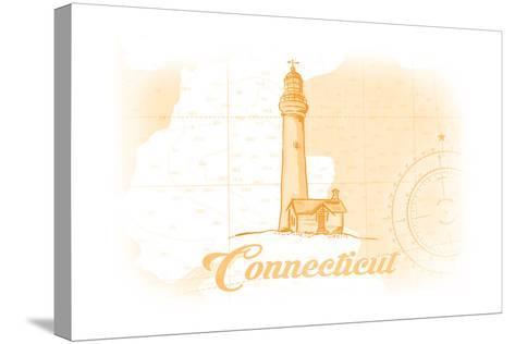 Connecticut - Lighthouse - Yellow - Coastal Icon-Lantern Press-Stretched Canvas Print