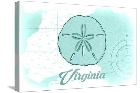Virginia - Sand Dollar - Teal - Coastal Icon-Lantern Press-Stretched Canvas Print